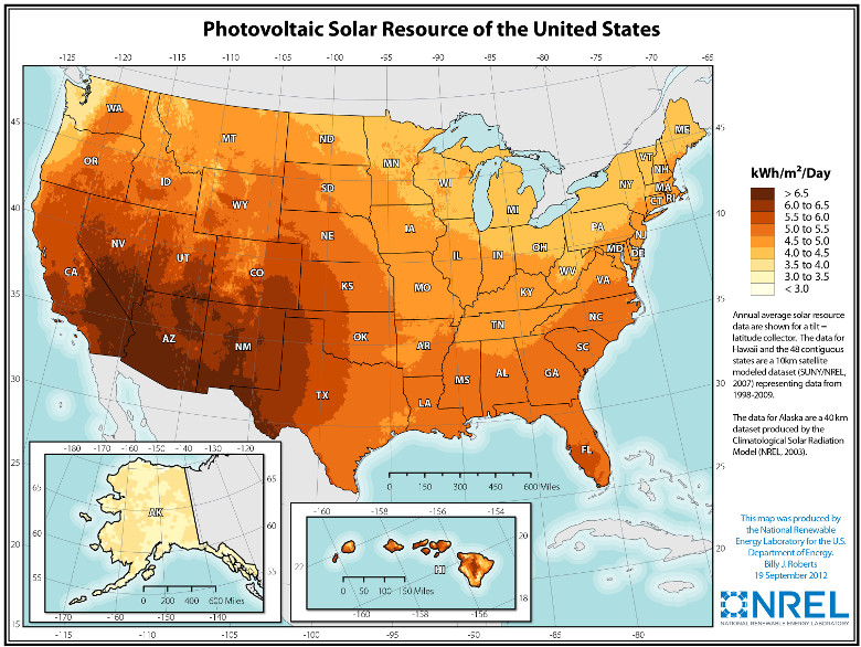 National Renewable Energy Laboratory solar map
